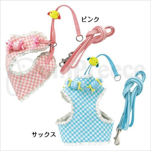 ayumi愛犬生活-寵物精品館:【福利品】《日本PomPreece》蕾絲滾邊糖果狗胸背組9615藍色3號