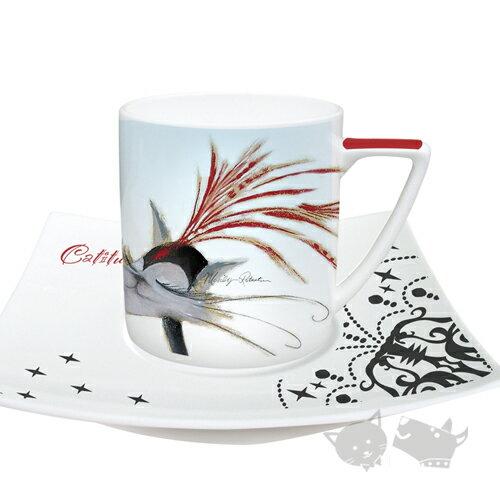 《英國Marilyn Robertson》瑪里琳.貓系列-[水晶燈]雙咖啡杯盤(骨瓷)