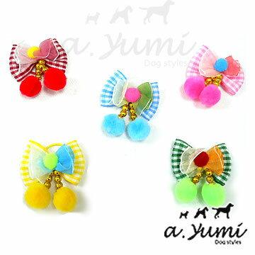 Ayumi精選-日本綁毛用飾品-螢火蟲毛球蝴蝶結(單個)