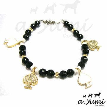 ayumi愛犬生活-寵物精品館:Ayumi寵物─黑白桃水鑽時尚項鍊
