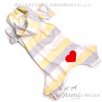 ayumi愛犬生活-寵物精品館:Ayumi精選-甜美條紋愛心舒適連身衣(粉黃)