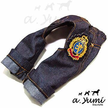 ayumi愛犬生活-寵物精品館:Ayumi精選-寵物時尚皇家徽章牛仔褲(藍色)