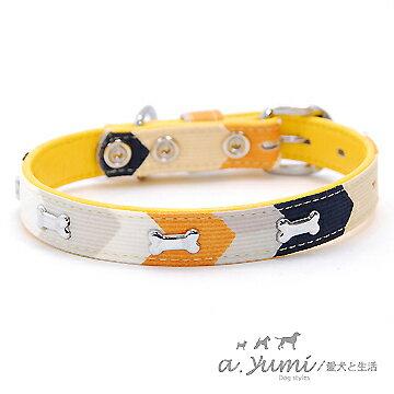 ayumi愛犬生活-寵物精品館:Ayumi精選-日本時尚條紋彩色骨頭寵物項圈黃色(18號)