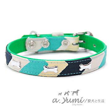 ayumi愛犬生活-寵物精品館:Ayumi精選-寵物項圈-日本時尚條紋彩色骨頭寵物項圈-3色(18號)