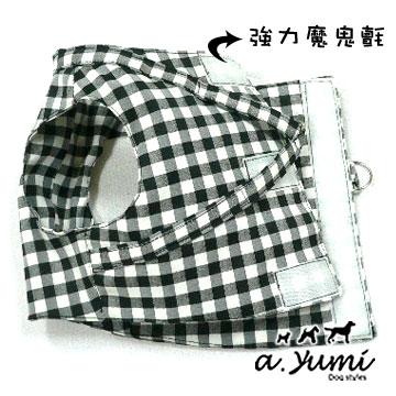 ayumi愛犬生活-寵物精品館:Ayumi品牌精典-寵物日系風-舒適俏麗格子胸背-黑白-M