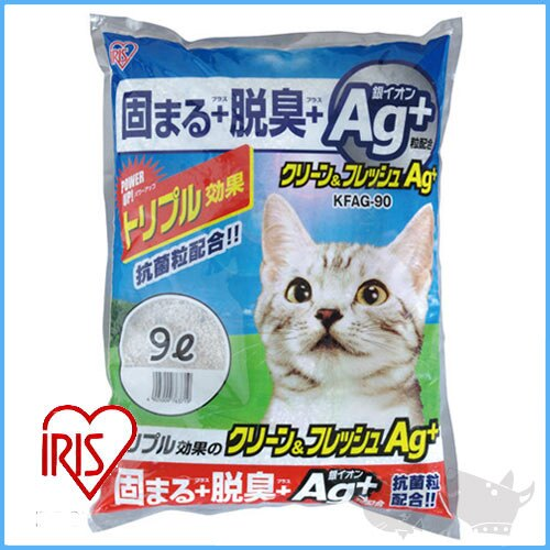 《日本IRIS Ag+銀離子貓砂》粗砂KFAG-90(9L) 凝結強KF-100改良版*2包 樂天雙11 - 限時優惠好康折扣