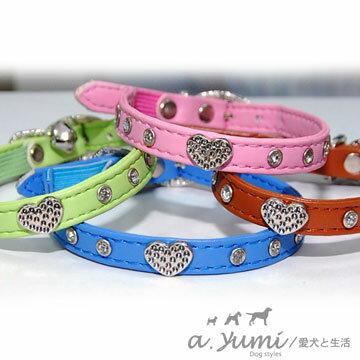 ayumi愛犬生活-寵物精品館:AYUMI精選-進口美國水鑽款貓項圈-粉紅咖啡粉綠蔚藍