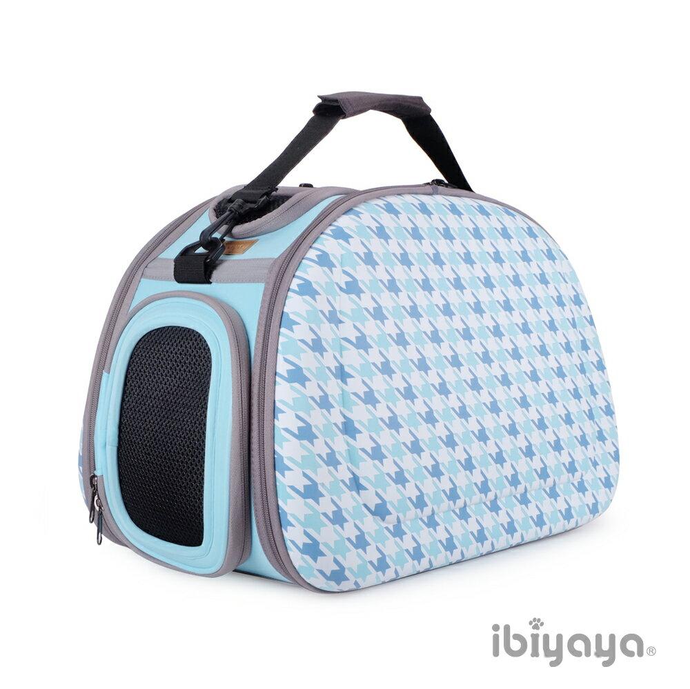 《IBIYAYA 依比呀呀》FC1420新輕巧摺疊寵物提包-千鳥格藍