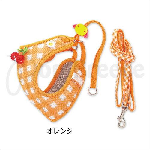 《日本PomPreece》狗胸背9666草莓格紋防蚊胸背-(綠色/橘色)