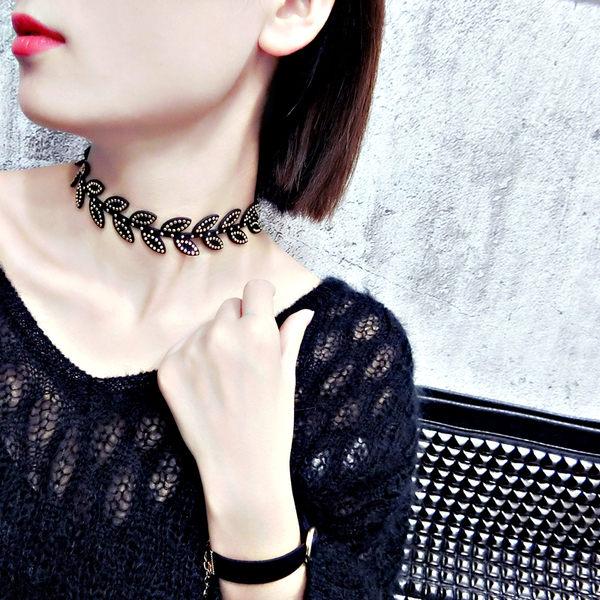 PS Mall 歐美個性酷朋克風鉚釘頸鏈日韓時尚簡約設計項鍊樹葉鎖骨鏈配飾【G2386】