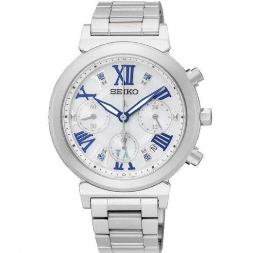 Seiko 精工錶 Lukia系列 V175-0DR0W(SSC839J1 ) 藍色羅馬字三眼太陽能女錶 36mm - 限時優惠好康折扣
