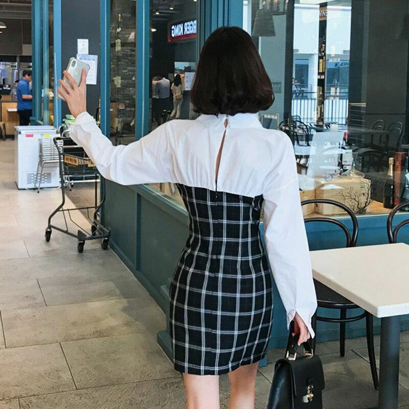 女裝2021新款翻領拼接假兩件格紋拼接撞色長袖連衣裙