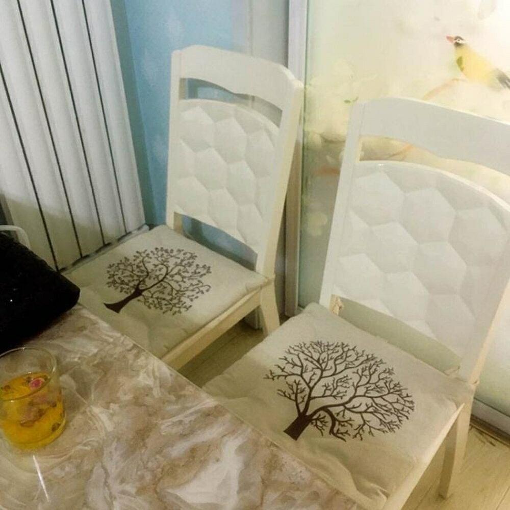 坐墊枕 棉麻中式簡約現代田園餐椅坐墊辦公室椅子墊防滑綁帶薄款座墊四季 歐歐流行館