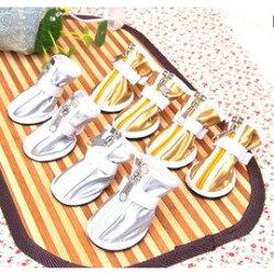 【寵物休閒鞋-PU靴-橡膠底-5規格可選-4只/包】休閒款 寵物狗狗貓咪鞋子  金銀兩色 顏色隨機,規格:1號~5號(請對照尺碼說明)-79011