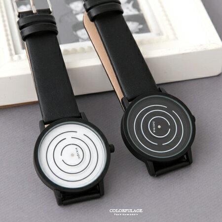 手錶 視覺效果圈圈皮革腕錶 無印風格黑白配色 中性款式 柒彩年代~NE1875~單支售價