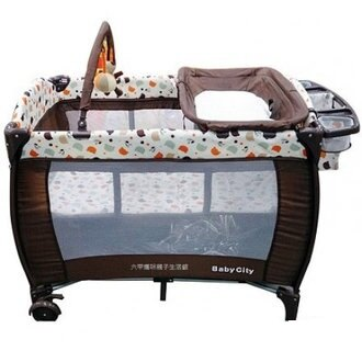 Baby City全配式雙層遊戲床 可折疊嬰兒床 便攜式遊戲床 【六甲媽咪】