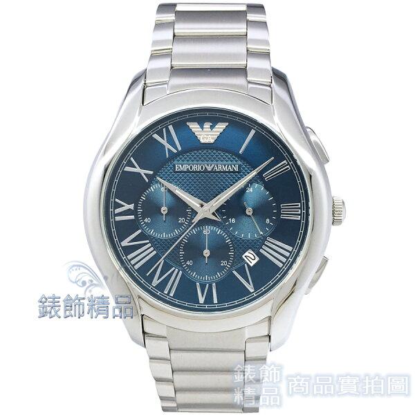 【錶飾精品】ARMANI手錶亞曼尼表AR11082日期三眼計時藍面鋼帶男錶全新原廠正品生日禮品