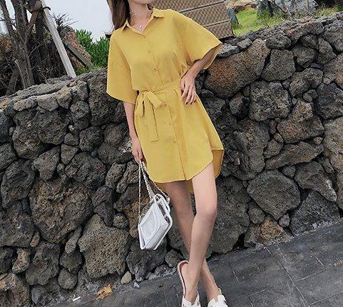 FINDSENSE H1 2018 夏季 新款 氣質 雪紡 繫帶 短袖 中長款 連衣裙 休閒潮流 女裙子