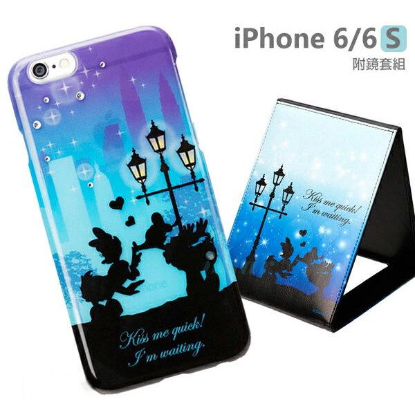 【日本 PGA-iJacket】正版 迪士尼 iPhone 6/6s 4.7吋 華麗感星空剪影附鏡套組系列-唐老鴨黛絲鴨