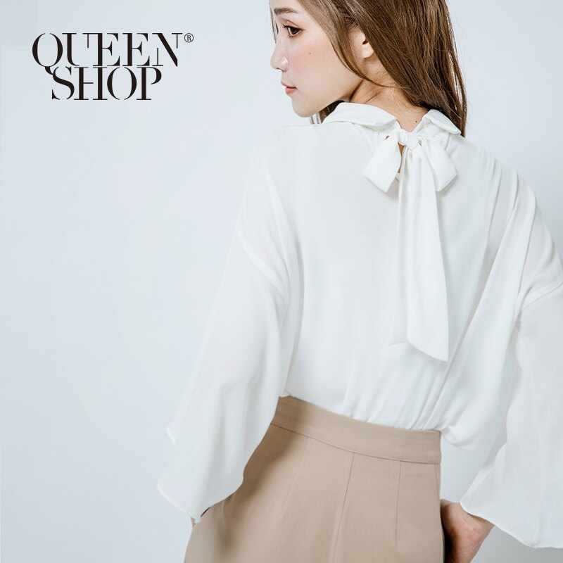 Queen Shop【01022677】後綁帶寬袖雪紡上衣 三色售*預購*
