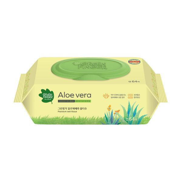 綠手指蘆薈滋潤型濕紙巾64抽單包【六甲媽咪】
