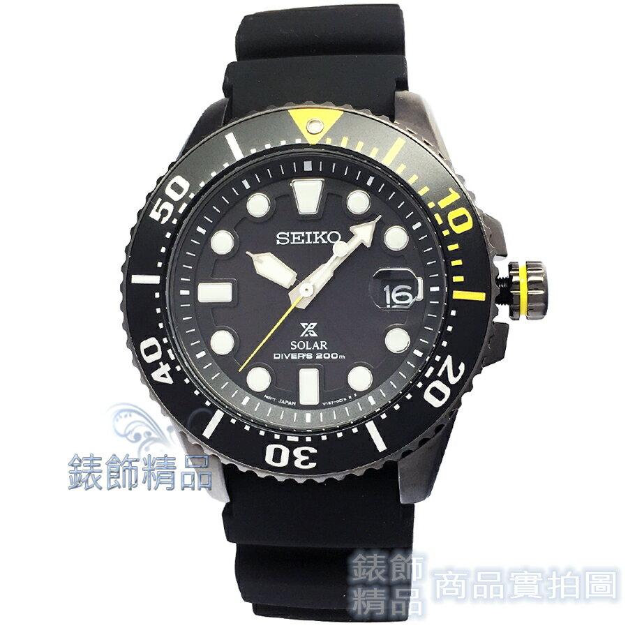 【錶飾精品】SEIKO手錶 SNE441P1 黑 精工表PROSPEX 環保太陽能 潛水膠帶男錶200M夜光日期