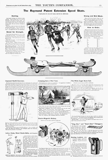Ad Recreation 1890 Namerican Magazine Advertisements For Ice Skates An Exercise Machine A Camping Tent A Battery And An Ice Skating Sail And Lantern 1890 Poster Print by (24 x 36)