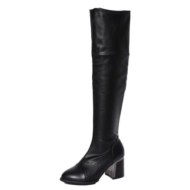 2016 過膝長靴女鞋瘦腿彈力靴皮質絨面高跟尖頭套腳金屬後跟粗跟長筒騎士靴