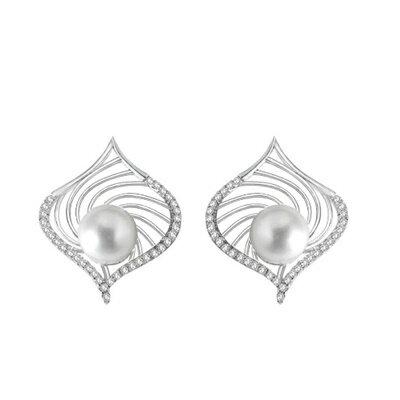 ~925純銀耳環珍珠耳飾~簡潔亮眼 母親節生日情人節 女飾品73dm219~ ~~米蘭 ~