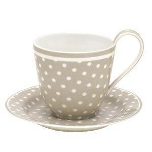 【預購】GreenGate  咖啡杯+盤    少女心 灰底小白點點~還有同系列拿鐵杯喔! - 限時優惠好康折扣
