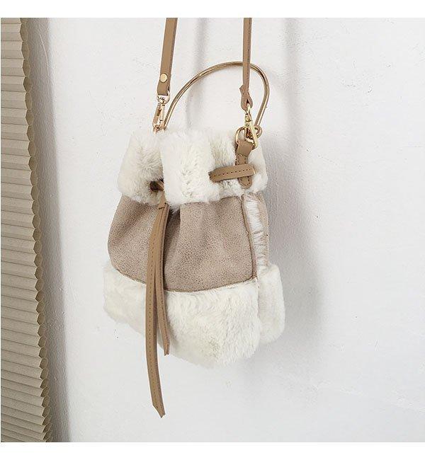 韓版可愛毛毛手提包迷你水桶包復古撞色單肩包斜背包 5