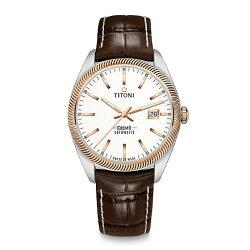 TITONI瑞士梅花錶 宇宙系列 878SRG-ST-606 新穎鋸齒風格腕錶/白 41mm