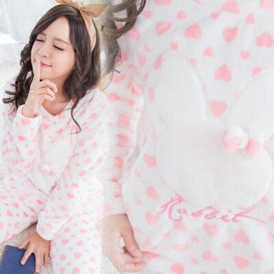 超柔雪貂絨-小兔子可愛睡衣+睡褲(冬季長袖睡衣)特級珊瑚絨