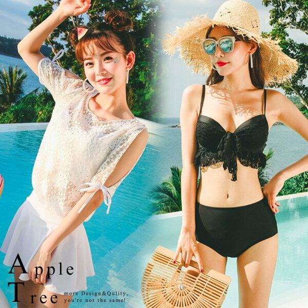 AT日韓-性感蕾絲四件套比基尼泳裝2色【805059】