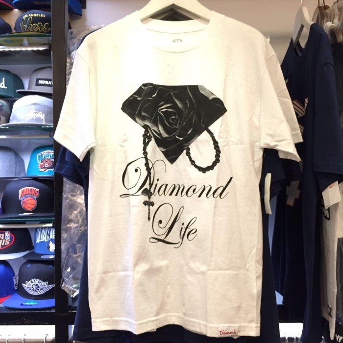 BEETLE PLUS 西門町 全新 DIAMOND SUPPLY CO ROSE BRILLIANT 玫瑰 鑽石 項鍊 黑白 TEE 短T D14DPA69WHT DA-12 - 限時優惠好康折扣