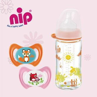 nip 德國牙仙子奶嘴奶瓶明星商品3件組女生款(牙仙子奶嘴x2+中圓頭玻璃奶瓶M號x1)【小丁婦幼】