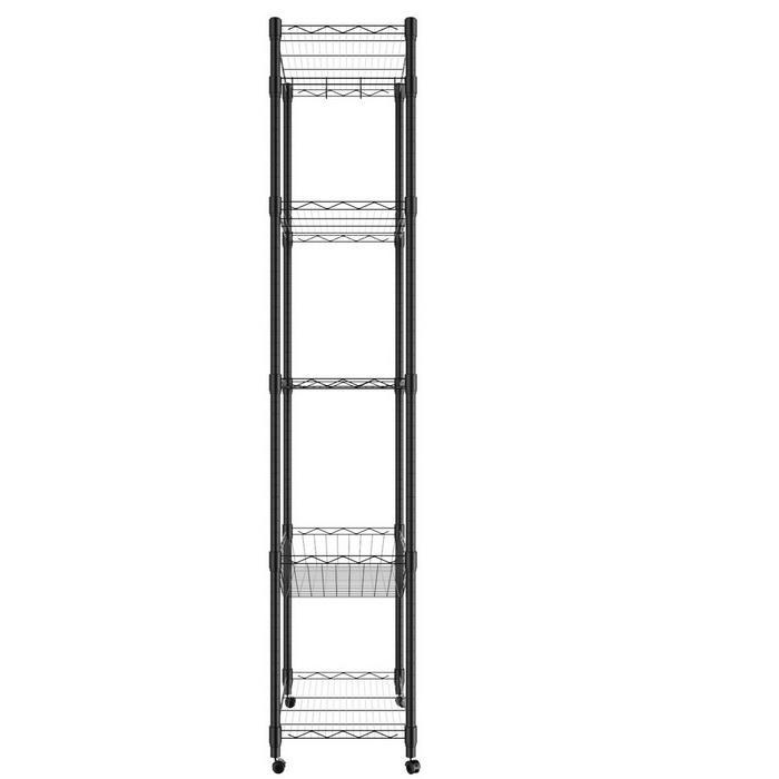 5-Tier Steel Shelving 71inch Height with Wheels 4