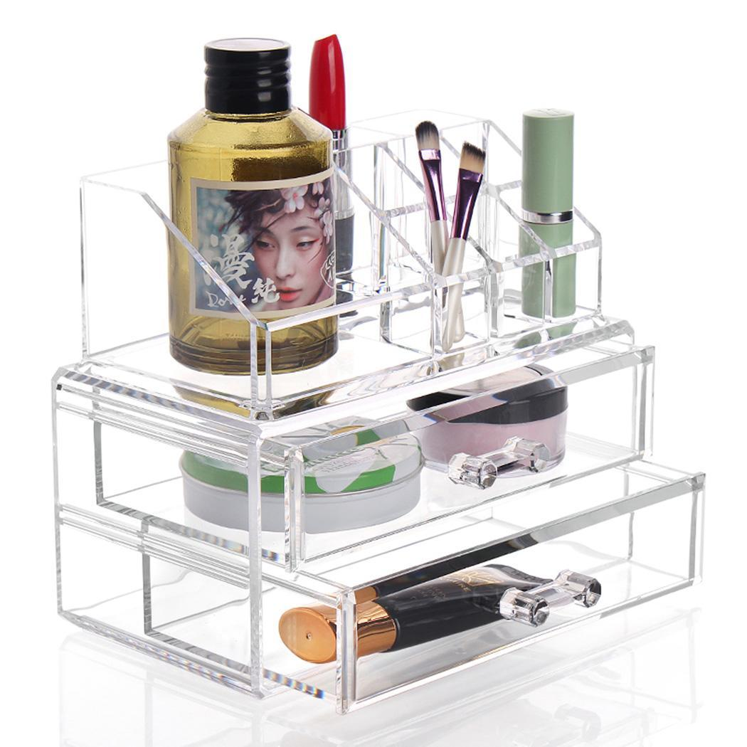 Acrylic Cosmetic Drawers Grids 2 Tiers Storage 5