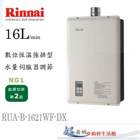 林內牌-Rinnai原廠-RUA-B-1621WF-DX-16公升數位恆溫水量伺服器強制排型熱水器