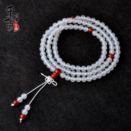白瑪瑙中國結佛珠手鏈 108顆佛珠水晶 男女款