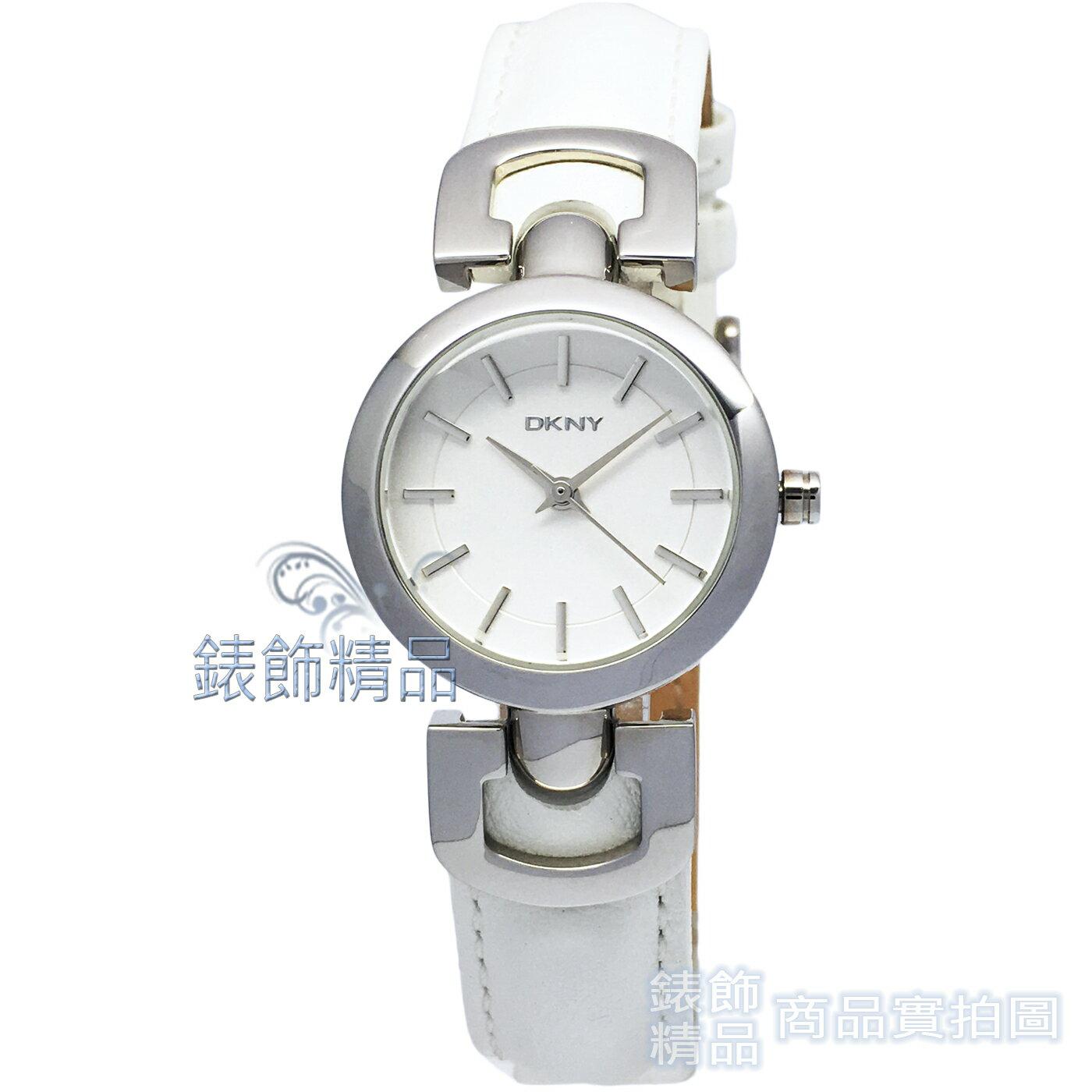 【錶飾精品】DKNY手錶 NY4948 俏麗雙D白面白皮帶 優雅淑女錶 全新原廠正品
