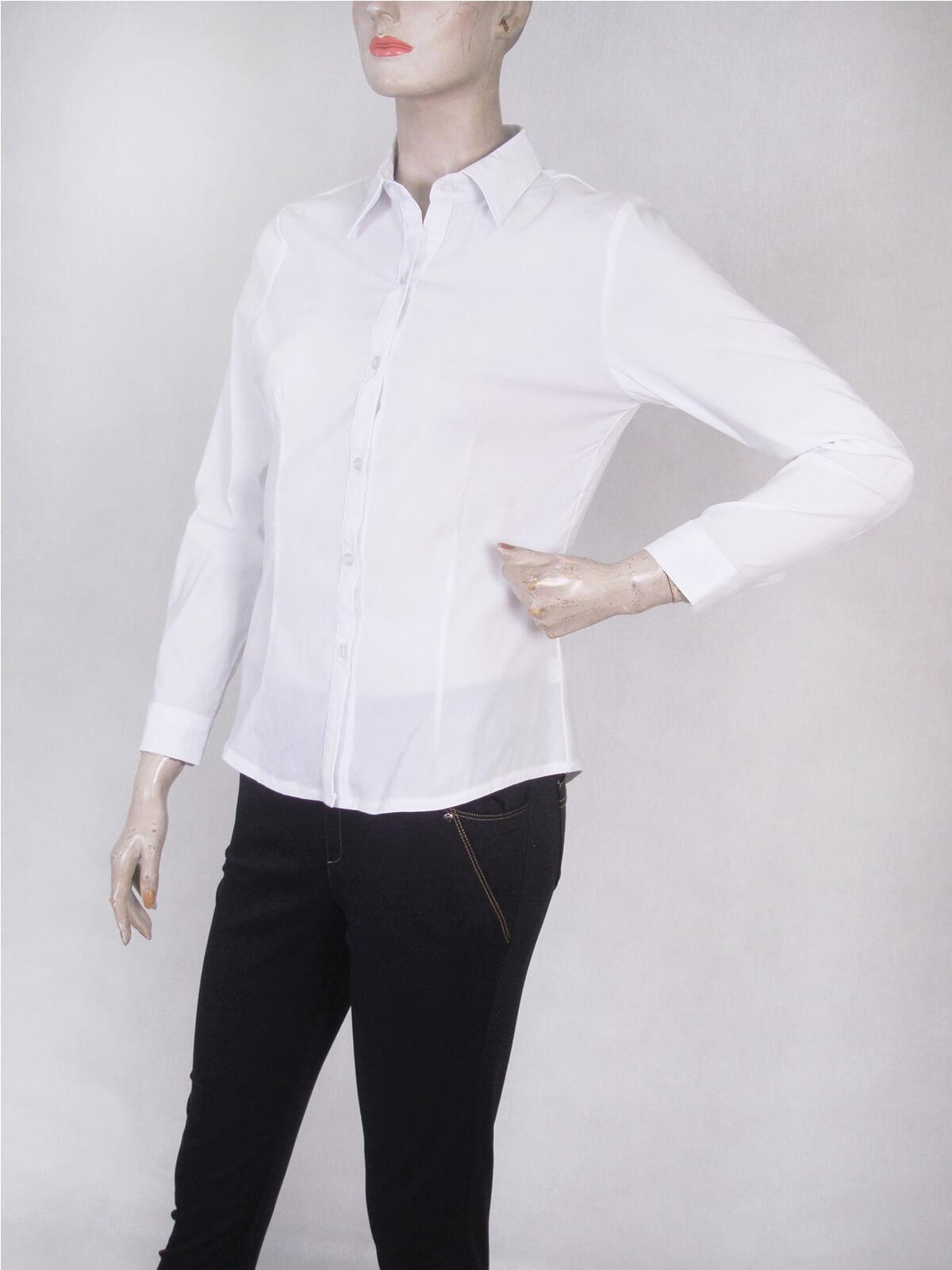 腰身剪裁淑女素面襯衫 修身長袖襯衫 合身顯瘦標準襯衫 正式襯衫 面試襯衫 上班族襯衫 商務襯衫 防曬襯衫 (333-A261-01)素面白色襯衫、(333-A261-21)素面黑色襯衫 胸圍32~50英吋 [實體店面保障] sun-e333 5