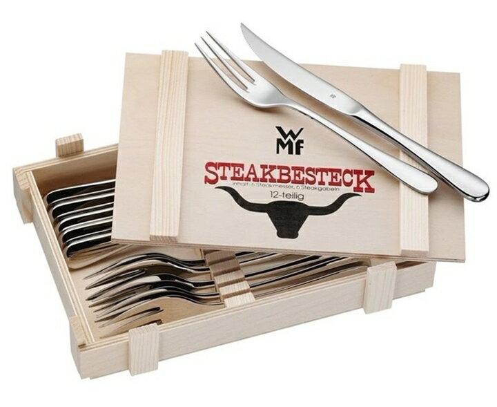 WMF 不銹鋼 牛排刀叉組 12件組 木盒