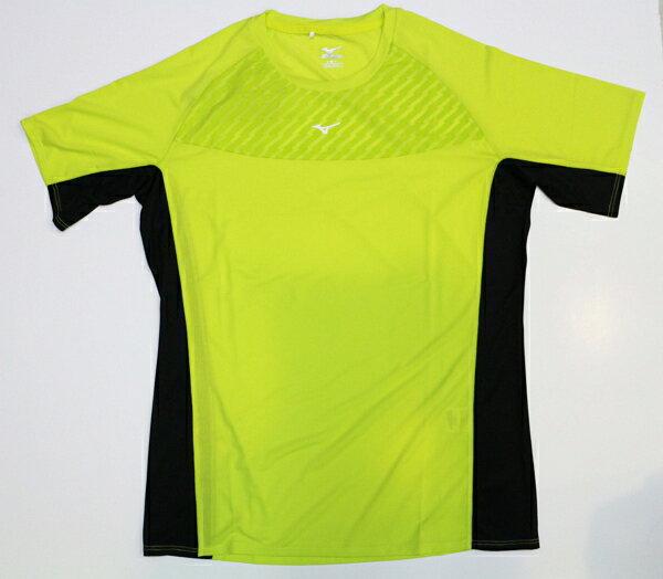 【陽光樂活】MIZUNO 美津濃 男短袖路跑上衣 排汗 台灣製造 螢光黃 黑邊 質感設計胸口 J2TA600236