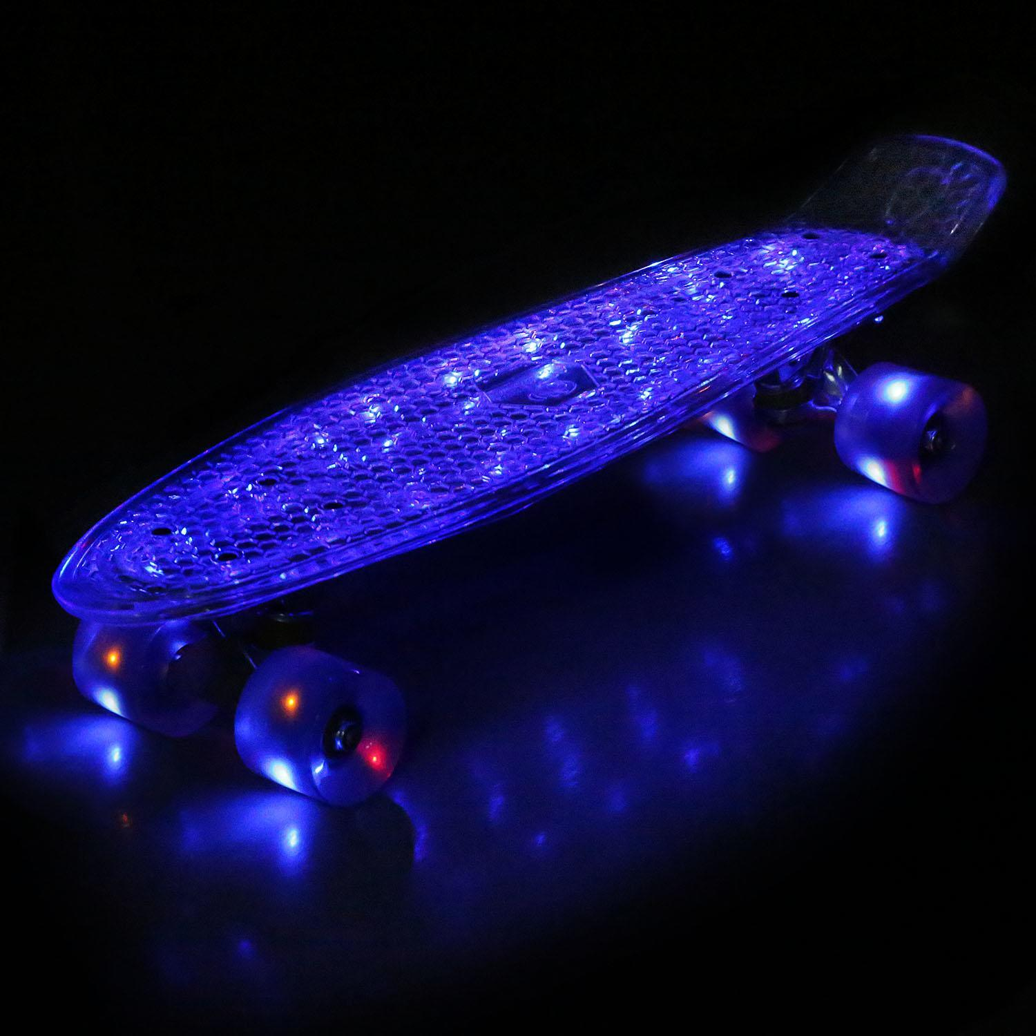 22 Cruiser Crystal Clear Board LED Light Up Wheels Outdoor Complete Deck Skateboard 0