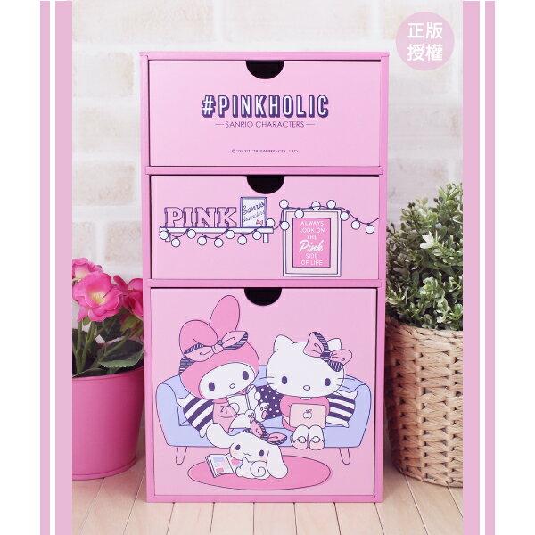 粉紅直式三抽盒 置物櫃 小物收納 文具收納 製 三麗鷗 蕾寶 生日   情人節 聖誕 聖誕節 化妝盒