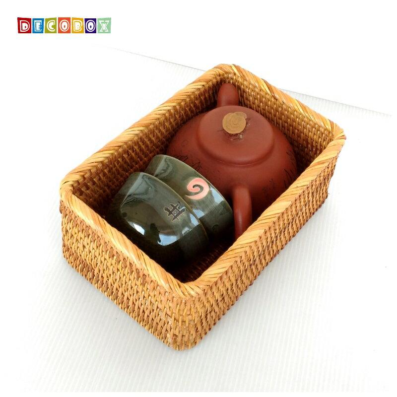 DecoBox藤編長方茶具小收納籃(茶道,藤編包) 0