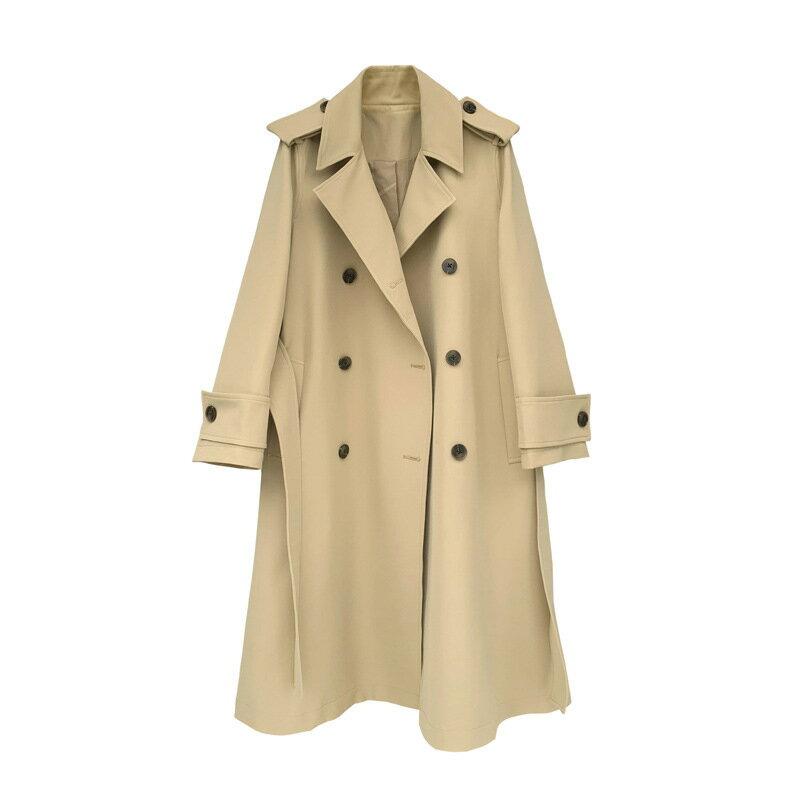 風衣大衣長款外套-雙排扣繫帶過膝高腰女外套2色73yt12【獨家進口】【米蘭精品】