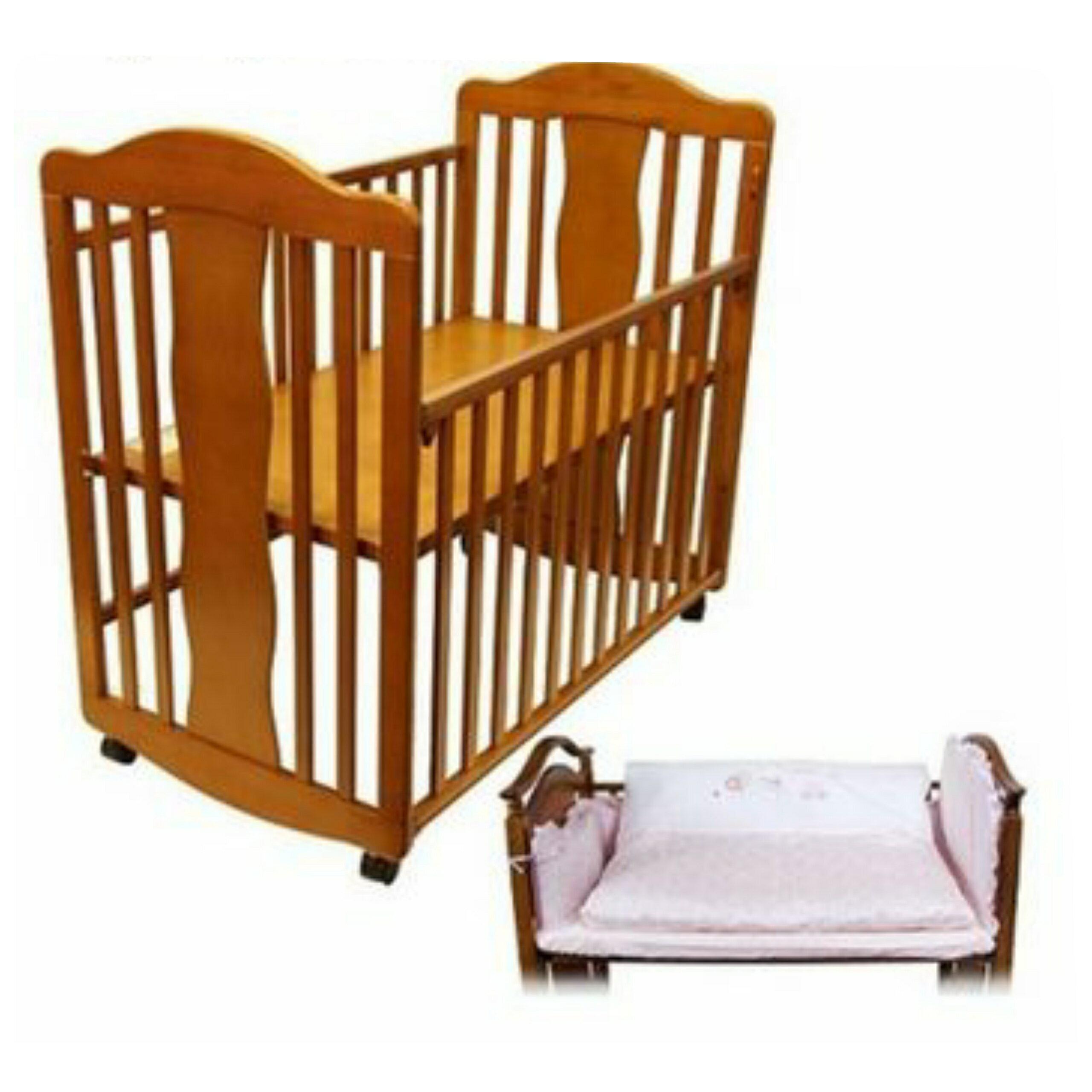【寶貝樂園】百貨娃娃城專櫃 Babycity 幸福小床+ 床墊(實木帶滾輪)不含床組