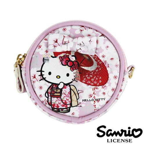 5336【日本進口正版】Hello Kitty 凱蒂貓 三麗鷗 人物系列 圓型 皮質 零錢包 SANRIO - 123701